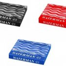 Waterman Paris Ink Cartridge Pack of 8 Pcs each Black / Florida Blue / Red