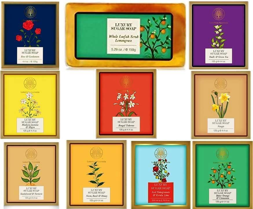Forest Essential Bath & Body Hand Made Clear Sugar Soaps 10 Variants 125 Gm Each