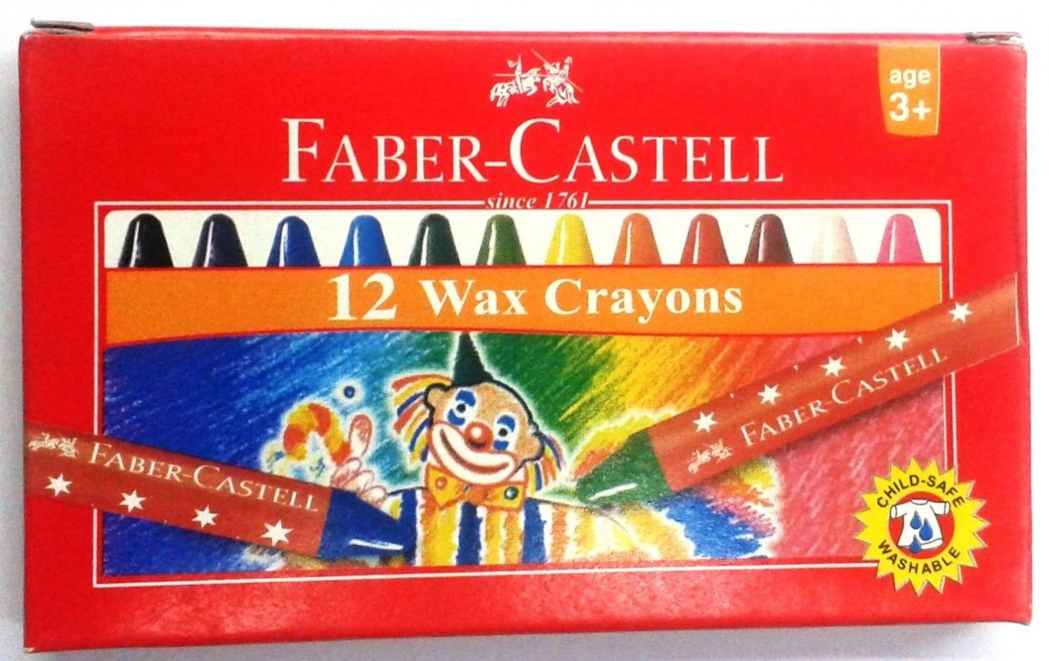 10 X Faber-Castell  12 Wax Crayons  Assorted Shades  57 mm each