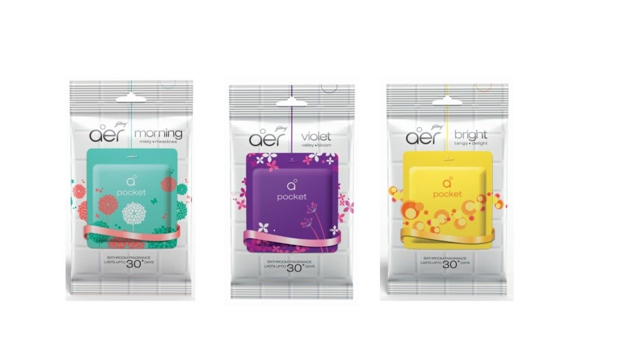 Godrej  Godrej aer Pocket  Choose From 3  Bathroom Fragrance  4x10gm