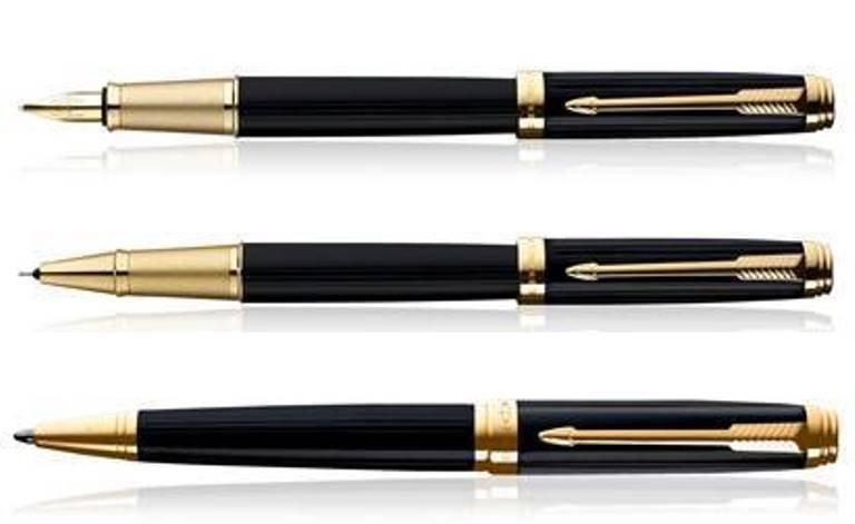 Parker Premium AMBIENT LACQUE BLACK GT  Fountain/Roller Ball/Ballpoint Pen