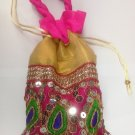 Embroidered Sequin Potli Batwa Pink & Golden Color Ethnic from India