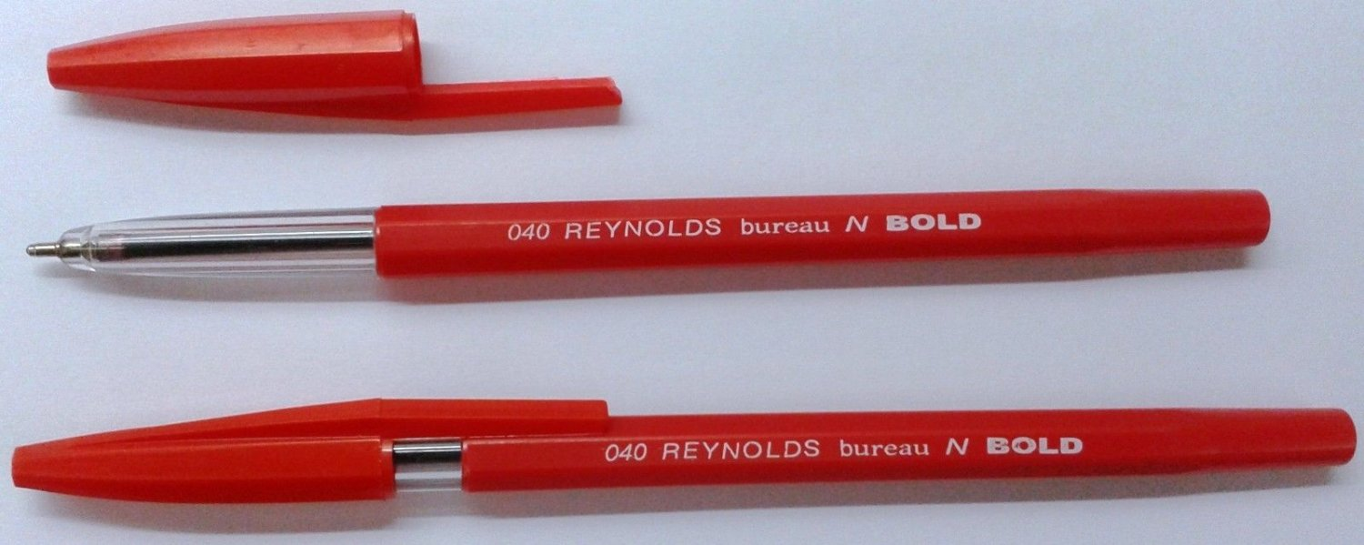 10 Ball Point Pens  Red Ink  10 x Reynolds 040 Bureau N Bold BallPoint Pens