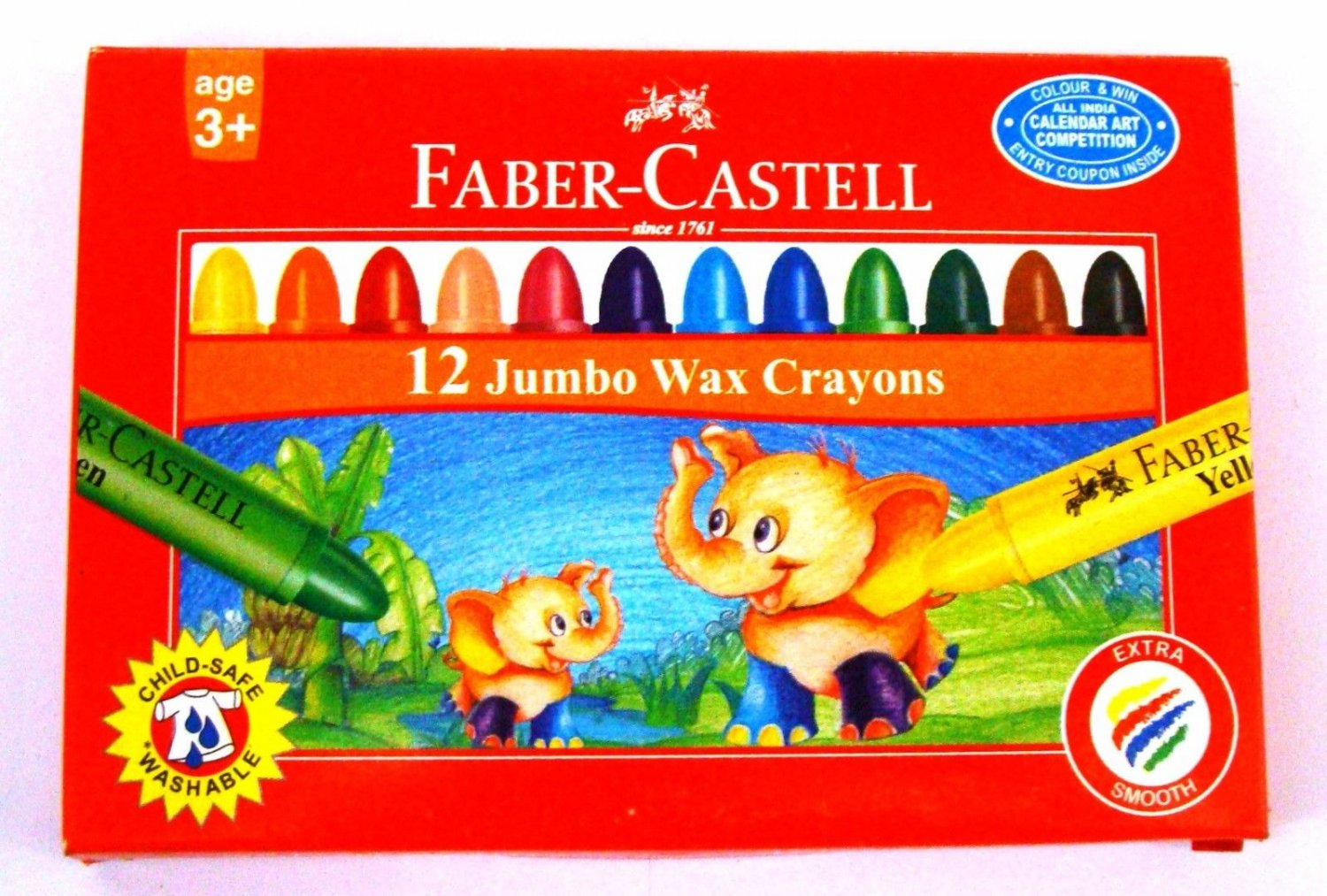 Faber-Castell  12 Jumbo Wax Crayons  Assorted Shades   90 mm each
