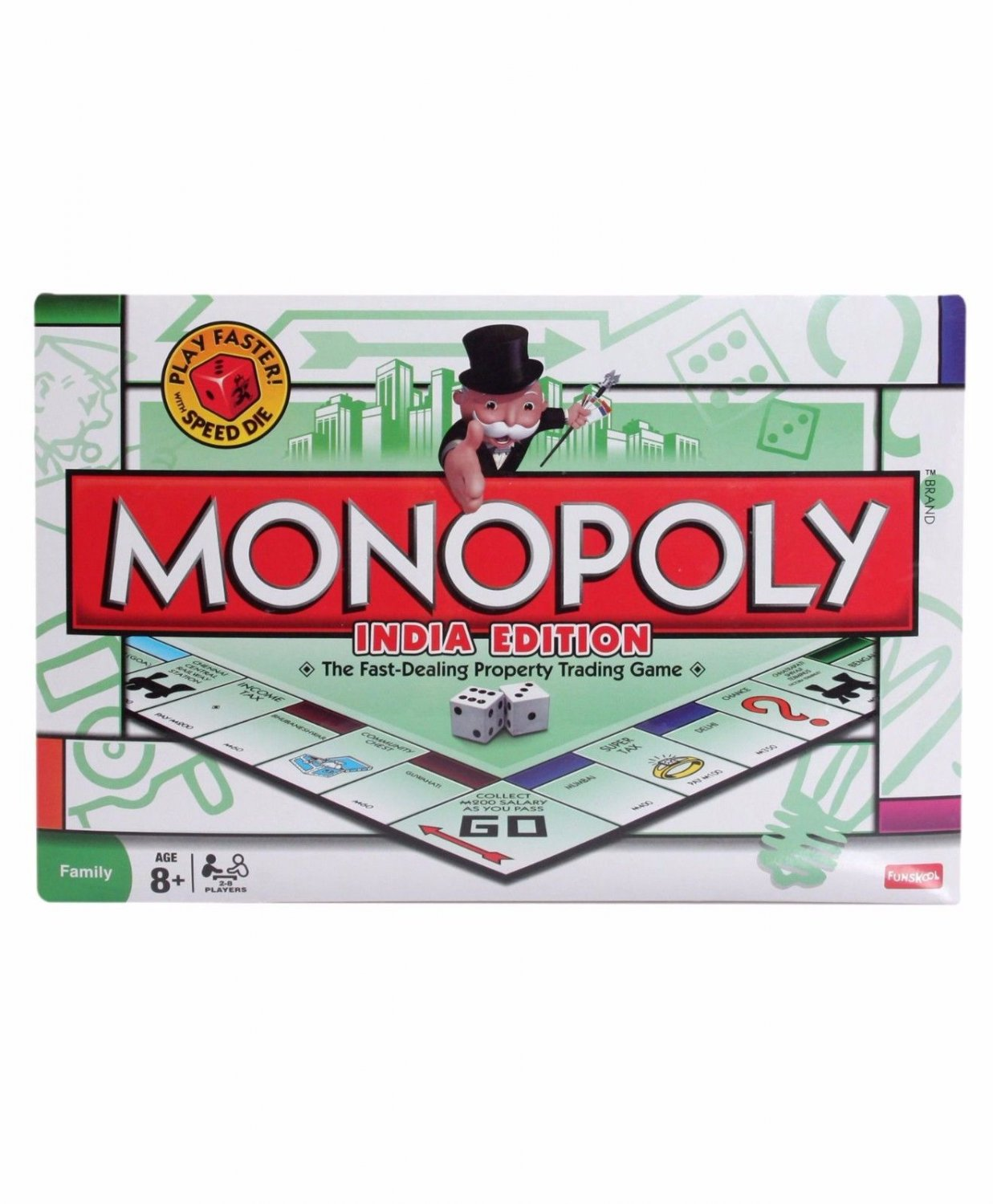 Funskool Monopoly India Edition Board Game 2-8 Players Indoor Game Age 8+ Family