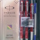 Parker Vector Standard Gift Set  All 3 Pens Body Color Red