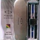 Parker  Gift Set Vector Matte Black Roller & Ball Pen Steel Clip