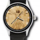 DA VINCI VITRUVIAN MAN VINTAGE PARCHMENT ART COLLECTIBLE SOLID BRASS WRIST WATCH