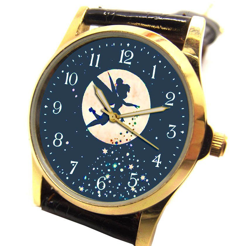 STUNNING TINKERBELL BLUE PETER PAN FAIRY ART SOLID BRASS DREAM WRIST WATCH 30 mm