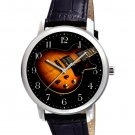 VINTAGE GIBSON GUITAR PROMOTIONAL ART HEAVY BRASS COLLECTIBLE 40 mm WRIST WATCH