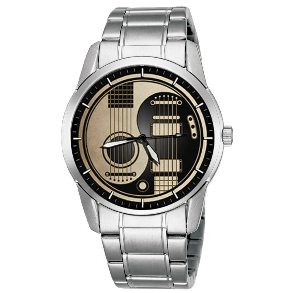 CLASSIC ACOUSTIC ELECTRIC YIN YANG GUITAR ART COLLECTIBLE 40 mm STANLESS STEEL WRIST WATCH