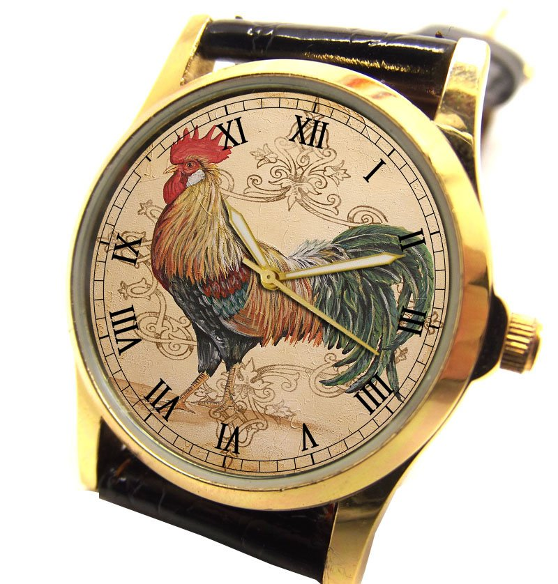 CLASSIC ROOSTER CUISINE ART FRANCE AMERICA COLLECTIBLE WRIST WATCH