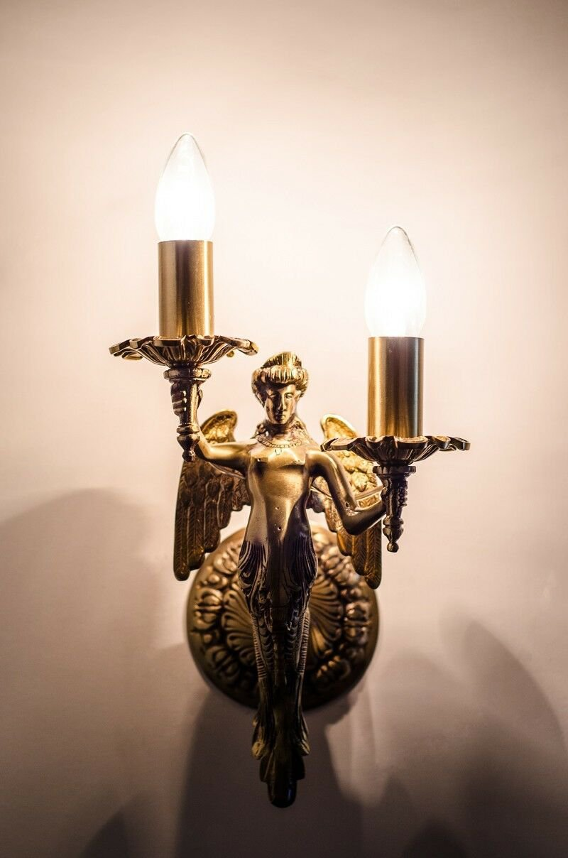 CLASSIC MERMAID ANGEL SOLID BRASS WALL SCONCES LAMPS w E14 BULBS