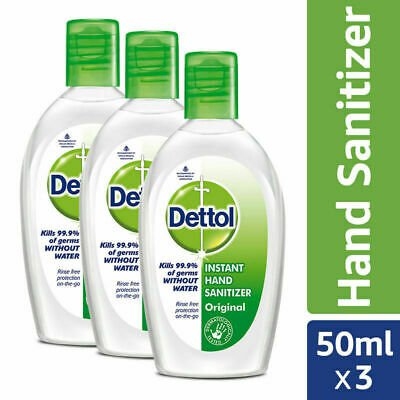 Dettol Instant Hand Sanitizer, Original - 50ml x 3 (Pack of 3)  ANTI CORONAVIRUS COVID-19