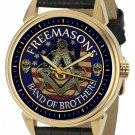 BAND OF BROTHERS, USA FLAG MASONIC FREEMASONRY FRATERNITY ART BRASS WRIST WATCH