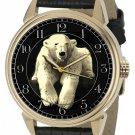 KNUT THE POLAR BEAR GLOBAL WARMING ENVIRONMENTAL ART SOLID BRASS WRIST WATCH