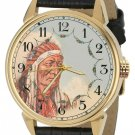 SITTING BULL NATIVE AMERICAN SIOUX LAKOTA CHIEF VINTAGE INDIAN ART WRIST WATCH