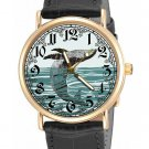 HUMPBACK WHALE. VINTAGE FRENCH MARINE LITHOGRAPH ART BRASS UNISEX WRIST WATCH