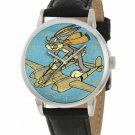 VINTAGE BUGS BUNNY ON A LOCKHEED LIGHTNING WW-II LOONEY TUNES ART WRIST WATCH