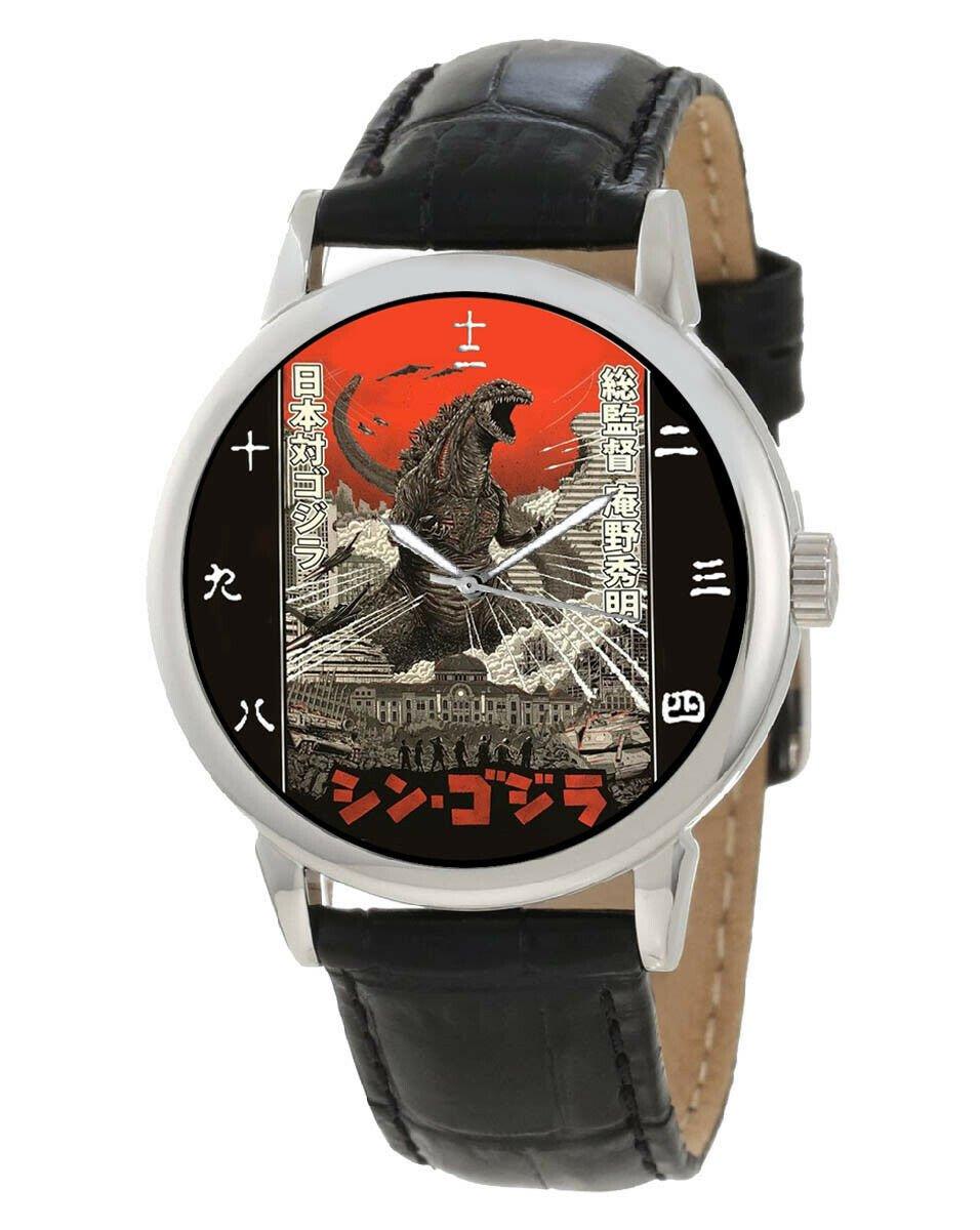 GODZILLA KANJI DIAL JAPANESE LITHOGRAPH PRINT ART SOLID BRASS MANGA WRIST WATCH