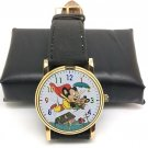 VINTAGE MIGHTY MOUSE ULTRA COLORFUL 30 mm COMIC ACTION ART DABS & CO WRIST WATCH