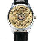 SECOND AMENDMENT GUN PERMIT FREEDOM NRA ART RIFLE OWNER'S FREEDOM WRIST WATCH