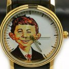 ALFRED E. NEUMAN VINTAGE MAD MAGAZINE SOLID BRASS COLLECTORS EDITION WRIST WATCH