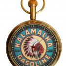 VINTAGE KALAMALKA GASOLINE RED INDIAN PORCELAIN SIGN 17 JEWEL BRASS POCKET WATCH