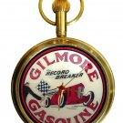 VINTAGE GILMORE GASOLINE AUTOMOBILE PORCELAIN SIGN 17J SOLID BRASS POCKET WATCH