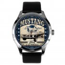 FORD MUSTANG CAR ENTHUSIAST'S HOTROD ADVERTISING ART 40 mm BRASS WRIST WATCH
