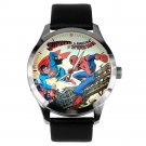 RARE SUPERMAN Vs SPIDERMAN VINTAGE DC COMIC COVER ART SOLID BRASS WRIST WATCH