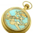 BUGS BUNNY ON A USAAF LOCKHEED LIGHTNING VINTAGE WW-II POSTER BRASS POCKET WATCH
