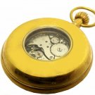 VINTAGE EROTICA 50 mm SOLID BRASS POCKET WATCH w. 17 JEWEL MECHANICAL MOVEMENT