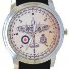 WW-II RAF ROYAL AIRFORCE SUPERMARINE SPITFIRE COMPASS ART SOLID BRASS WRISTWATCH