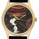 SNOOPY vs EDVARD MUNCH THE SCREAM EXISTENTIAL ANGST ADULT SIZE BRASS WRIST WATCH