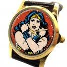 Wonder Woman Deep Crimson Original Comic Art 30 mm Symbolic Girl Power Art Watch