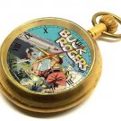 BUCK ROGERS COBALT BLUE COLLECTIBLE 17 JEWELS MECHANICAL COMIC ART POCKET WATCH