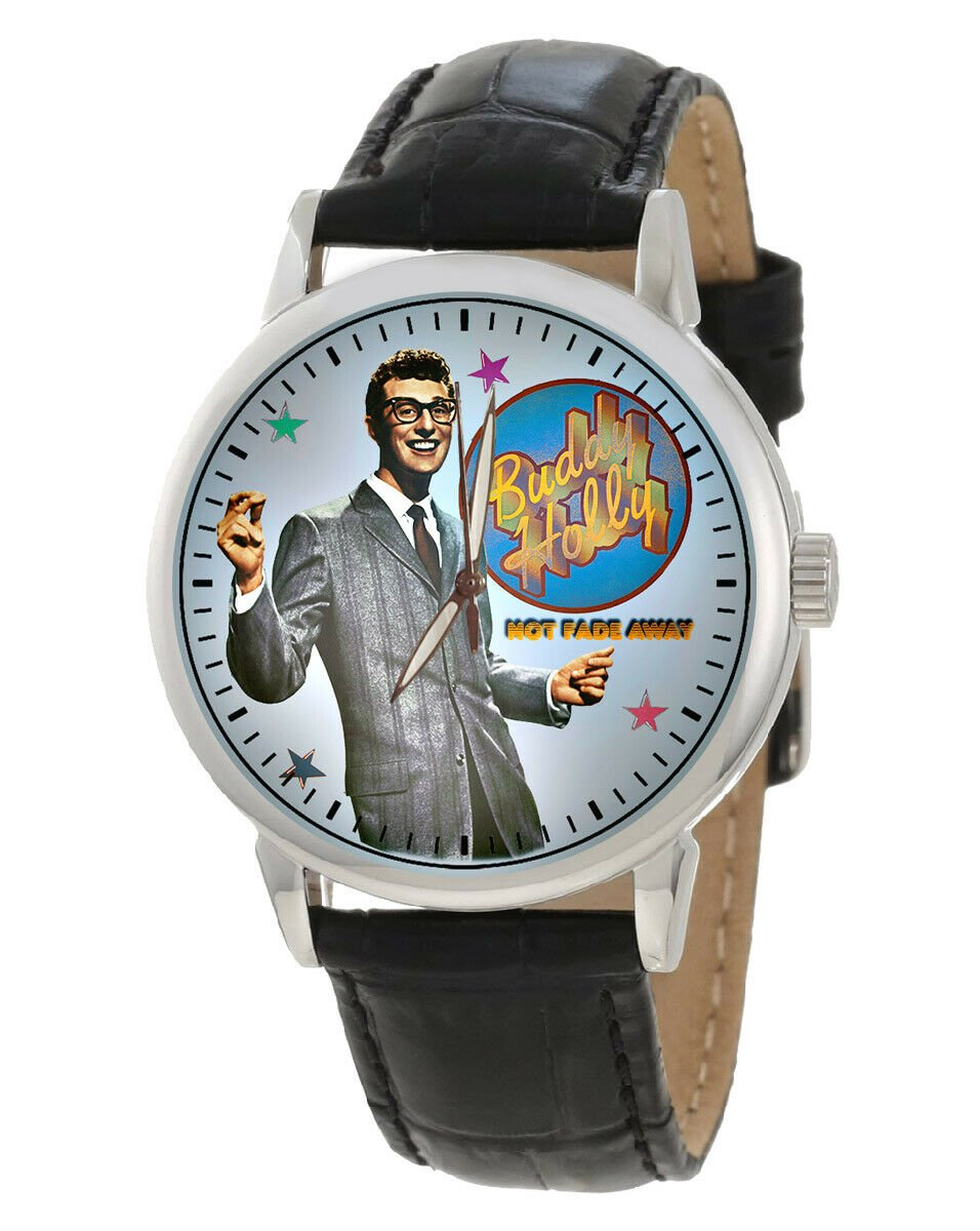 VERY RARE BUDDY HOLLY AMERICAN BANDSTAND NOT FADE AWAY VINTAGE ART WRIST WATCH
