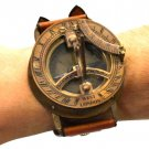400-YEAR-OLD TIME CONCEPT, SOLID BRASS WRIST WATCH SUNDIAL COMPASS LEATHER STRAP
