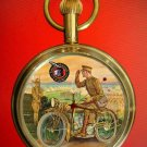 VINTAGE PROMOTIONAL ART LARGE 40 mm MOTOCYCLE MOTORCYCLE ART SOLID BRASS WATCH