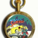 VINTAGE FIRST SUPERBOY COVER SUPERMAN COLLECTIBLE 17 JEWEL BRASS POCKET WATCH