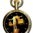 SALVADOR DALI CRUCIFIXION OF CHRIST SURREAL ART 50 mm 17 JEWEL POCKET WATCH