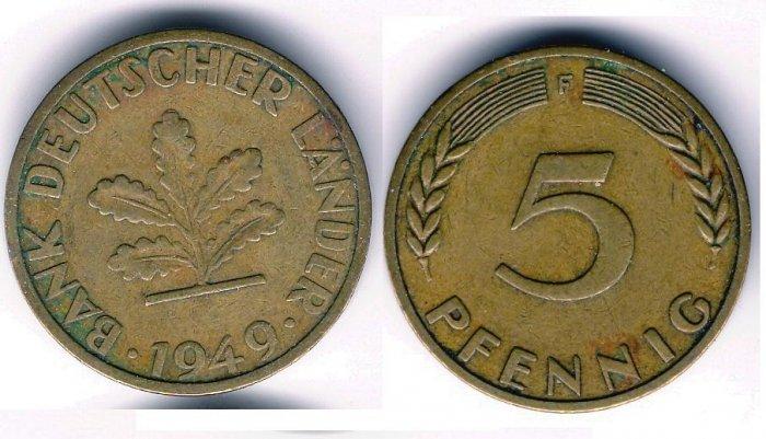 1949-F 5 Pfennig XF