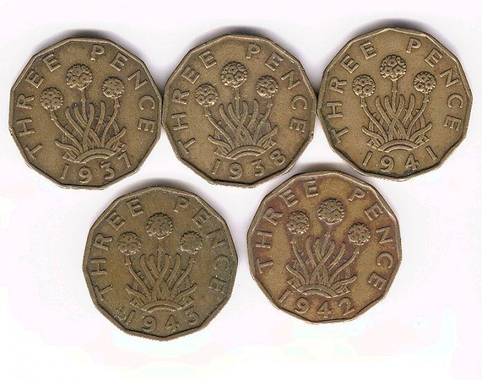 George VI Brass 3d Lot x5