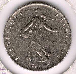 1968 1 Franc XF-45/AU
