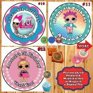 LOL Surprise Birthday Stickers Round 1 Sheet Personalized