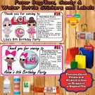 LOL Surprise Birthday Water Bottle Favor Labels Personalized 1 Sheet