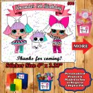 LOL Surprise Doll Birthday Favor Popcorn Labels Candy Stickers 1 Sheet Personalized