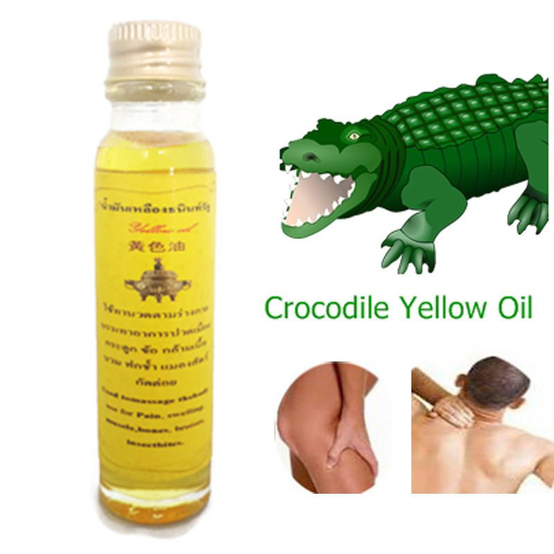 New Thai Yellow Oil Plus CROCODILE OIL Herb Natural Massage Muscle Pain 24cc