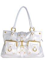 white n gld pocket bag
